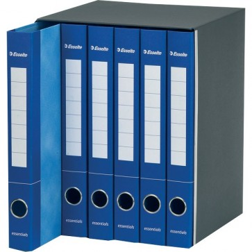 Gruppi di registratori ad anelli Essentials Esselte - dorso 4 cm - 25x33 cm - 2 anelli - blu (conf.6)