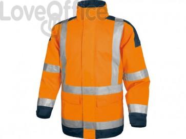 Giacca da lavoro Delta Plus Parka Easy View c/zip imperm. - Cl.3 - 4 tasche - argento arancio fluo-blu XL - EASYVOMXG
