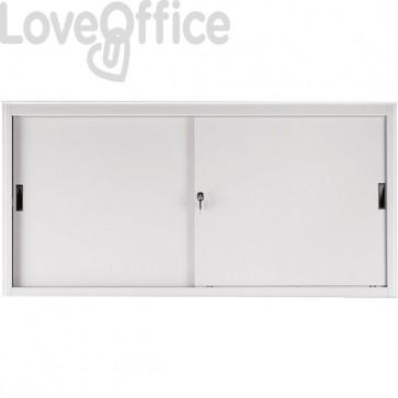 Armadio metallo grigio - Armadio archivio a porte scorrevoli - Tecnical 2 - 2 ripiani - 180x45x85 cm