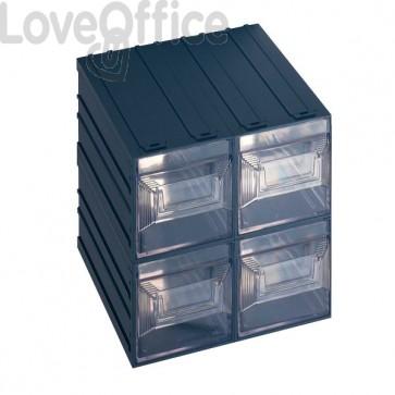 Cassettiera modulare in plastica - ad incastro - Vision Terry Store Age - 4 cassetti - 25x36x25 cm