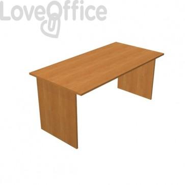 scrivania da ufficio color noce fianco pannello 160 cm