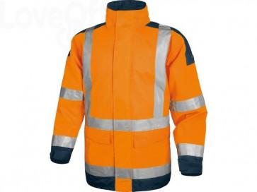Giacca da lavoro Delta Plus Parka Easy View c/zip imperm. - Cl.3 - 4 tasche - argento arancio fluo-blu - L - EASYVOMGT