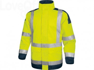 Giacca da lavoro Delta Plus Parka Easy View c/zip imperm. - Cl.3 - 4 tasche - argento giallo fluo-blu - XL - EASYVJMXG