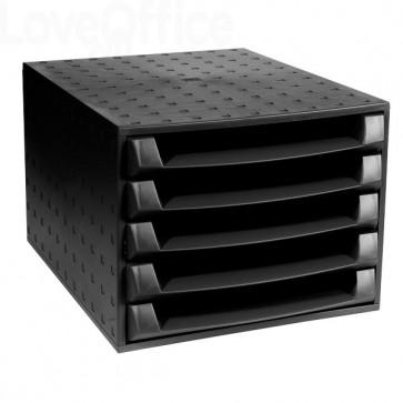 cassettiera da scrivania in plastica nera Exacompta