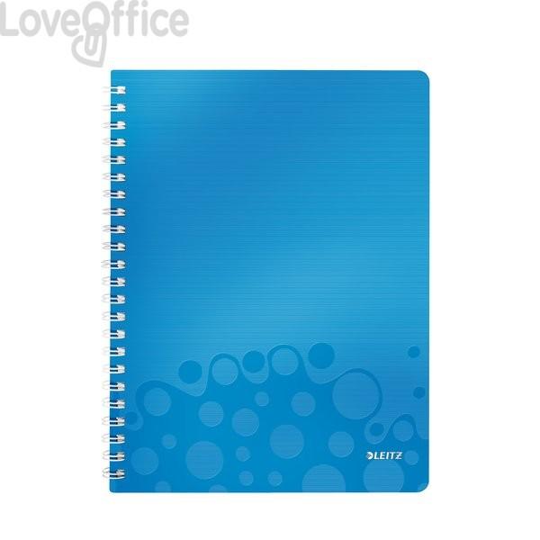 640bb59c61 Quaderno con spirale a quadretti blu metallizzato - Note Pad WOW Leitz - A4