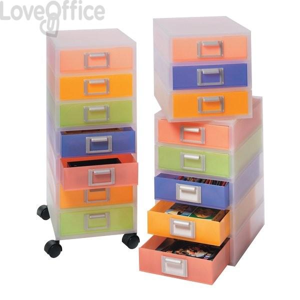 Cassettiere Plastica Colorate.Cassettiera Plastica Jolly Niji 3 Cassetti 26x34x27 Cm