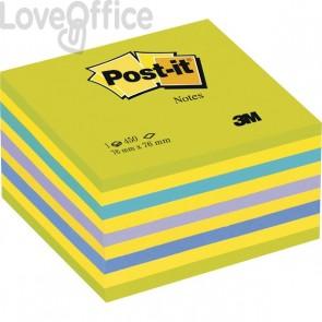 Post-it® Cubi Neon - 76x76 mm - 2 verde ultra, 4 giallo neon, blu ultra, viola neon, blu - 2028-NB