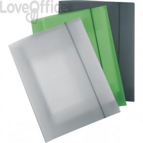 Leonardi - Cartelline con elastico in plastica - 3 lembi - Polipropilene - grigio fumè trasparente (conf.10)