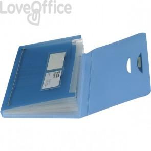 Cartella a soffietto a 12 scomparti Leonardi - blu trasparente