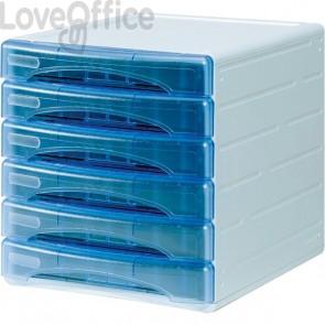 Cassettiera Olivia Arda - 6 cassetti piccoli - 3 cm - azzurro trasparente - TR13G6PBL