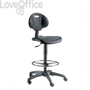Sgabello tecnico per ufficio in poliuretano nero - E900 / EOE2