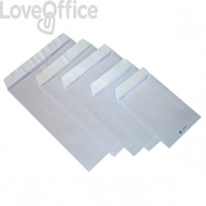 Buste a sacco con strip Pigna - bianco - 25x35,3 cm - 80 g/mq - strip - 0099066 (conf.500)