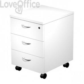 Cassettiera ufficio con ruote - Artexport - smontata - 3 - bianca - 43x52x60 cm
