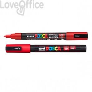 Pennarello Uniposca a tempera - Uniposca rosso Uni-Ball - punta fine tonda - 0,9-1,3 mm