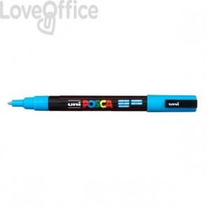 Pennarello Uniposca a tempera - Uniposca azzurro Uni-Ball - punta fine tonda - 0,9-1,3 mm