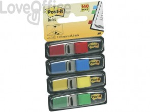 Segnapagina removibili Post-it® Index Mini con dispenser blu, giallo, verde, rosso - 683-4 (conf.4 da 35 fogli)