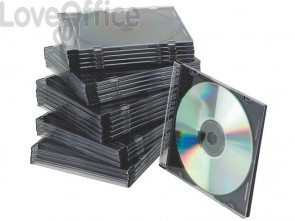 Porta CD/DVD Q-Connect Slim Case standard sp. 5 mm nero/trasparente conf. 25 pezzi - KF02210