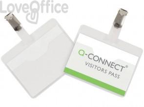 Portabadge Q-Connect plastica 90x60 mm con clip apertura superiore - KF01560(conf.25)