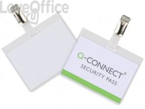 Portabadge Q-Connect 90x60 mm con clip con clip apertura laterale Confezione da 25 pezzi - KF01562