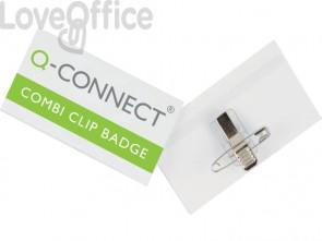 Portabadge Q-Connect plastica con clip e spilla 90x54 mm conf. da 50 - KF01567