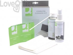 Kit pulizia pc Q-Connect aria compressa, liquido detergente e salviette KF32155A