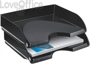 Vaschetta portacorrispondenza orizzontale impilabile CEP in polistirolo nero - 1135220161