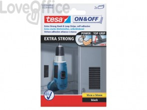 Strisce adesive tesa On&Off extra forte 50 mm x 10 cm nero 55228-00000-02