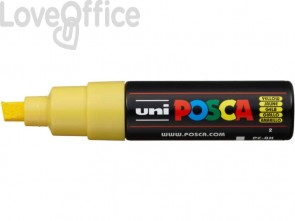 Pennarello Uniposca giallo a tempera Uni-Ball punta a scalpello 8 mm - M PC8K G