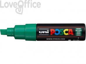 Pennarello Uniposca verde a tempera Uni-Ball punta a scalpello 8 mm - M PC8K V