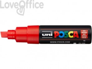 Pennarello Uniposca rosso a tempera Uni-Ball punta a scalpello 8 mm - M PC8K R