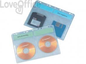Buste porta CD Q-Connect Blinder Sheets A4 per 4 CD/DVD trasparente - KF02203 (conf.10)