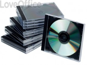 Porta CD/DVD Q-Connect Jewel case standard sp. 10 mm nero/trasparente - KF02209 (conf. da 10)