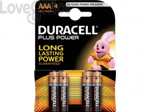 Batterie alcaline Duracell Plus Power Ministilo 2400 mAh AAA conf. da 4 - DU0200