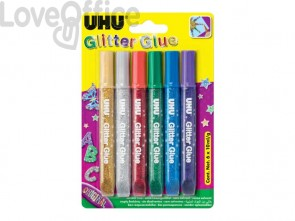 Colla Glitter Uhu Original colori assortiti 6x10 ml - D1640