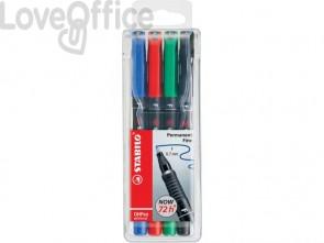 Penne Stabilo OHPen universal Fine (F) 0,7 mm assortiti astuccio da 4 - 842/4