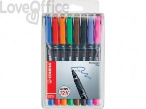 Penne Stabilo OHPen universal Fine (F) 0,7 mm assortiti - 842/8 (astuccio da 8)