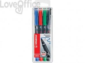 Penne Stabilo OHPen universal Medio (M) 1 mm assortiti astuccio da 4 - 843/4