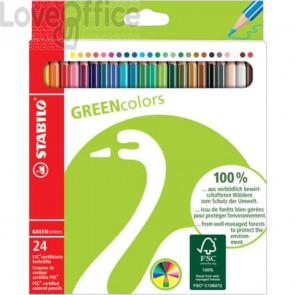 Matite colorate GREEN colors astuccio in cartone Stabilo (24 colori assortiti)