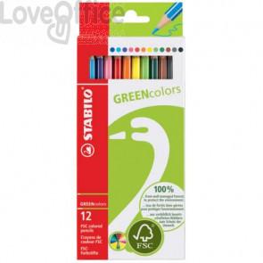 Matite colorate GREENcolors astuccio in cartone Stabilo 12 colori assortiti
