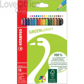 Matite colorate GREENcolors astuccio in cartone Stabilo 18 colori assortiti 6019/2-181