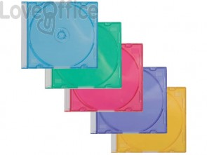 Porta CD/DVD Q-Connect Slim Case standard sp. 5 mm colori assortiti conf. 25 pezzi - KF04384