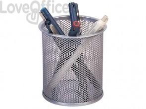 Portapenne in metallo Q-Connect h 10 cm /  Ø 9 cm argento KF00846