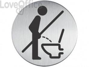 """Pittogramma adesivo """"Prego sedersi"""" DURABLE argento metallizzato Ø 83 mm 492123"""