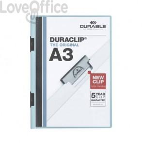 Cartellina con clip Durable DURACLIP® A3 - dorso 6 mm - capacità 60 fogli azzurro 221806