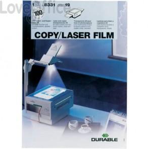 Lucidi per lavagne luminose DURABLE A4 trasparenti - 8331-19 (Conf. 100 pezzi)
