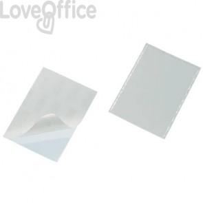 Portabiglietti da visita adesivi DURABLE POCKETFIX® 5,7x9 cm trasparente (conf. 100 pezzi)