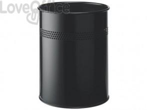 Cestino gettacarte DURABLE cilindrico con superficie perforata acciaio 15 l nero - 330001