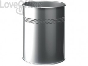 Cestino gettacarte DURABLE cilindrico con superficie perforata acciaio 15 l argento metallizzato - 330023