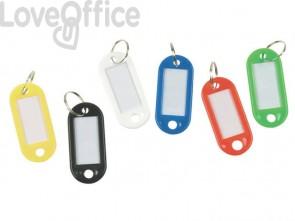 Targhetta portachiavi Q-Connect standard in plastica 5x2,2 cm bianco Confezione da 10 pezzi - KF10874