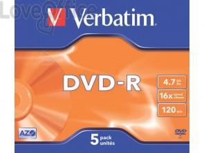 DVD-R Verbatim Jewel Case 4.7 GB - velocità 16x conf. da 5 - 43519